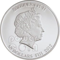 NEFERTITI Egypt Queen Nofretete Plata Oro Palladium Gemstone Moneda 2 Oz 50$ Fiji 2012