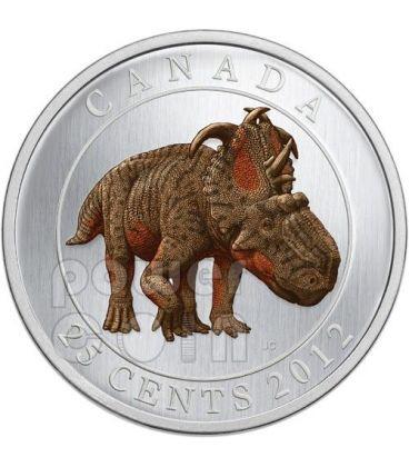DINOSAURO GLOW IN THE DARK Pachyrhinosaurus Lakustai Moneta 25c Canada 2012