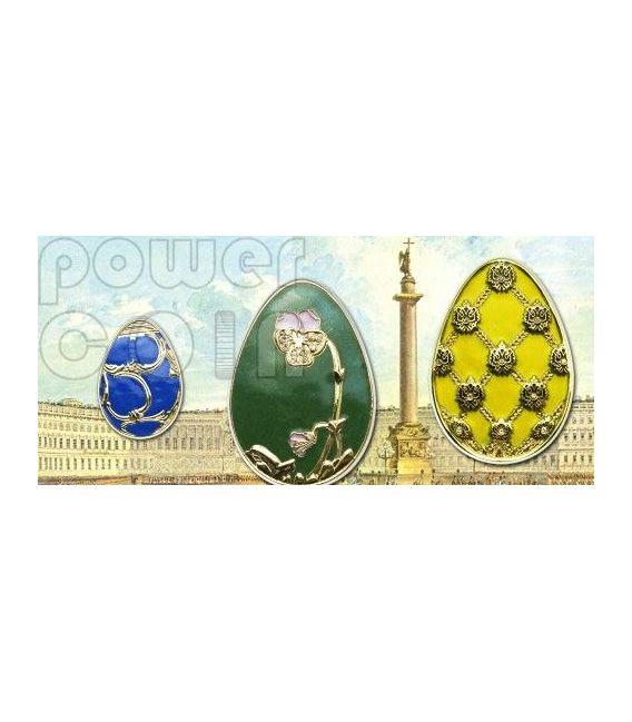 UOVA IMPERIALI BLU Cloisonne Faberge Moneta Argento 5$ Cook Islands 2010