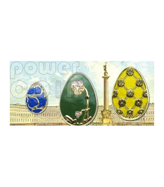 IMPERIAL EGGS YELLOW Cloisonne Faberge Silber Münze 5$ Cook Islands 2010
