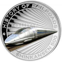 BULLET TRAIN Shinkansen Japan Railway Express Train Moneda Plata 5$ Liberia 2011