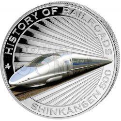 BULLET TRAIN Shinkansen Япония Railway Express Train Серебро Монета 5$ Либерия 2011