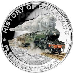FLYING SCOTSMAN England Railway Express Train Moneda Plata 5$ Liberia 2011