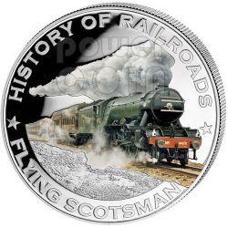 FLYING SCOTSMAN Inghilterra Treno Espresso Ferrovia Moneta Argento 5$ Liberia 2011