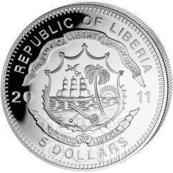 FLYING SCOTSMAN England Railway Express Train Серебро Монета 5$ Либерия 2011