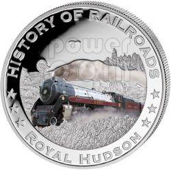 ROYAL HUDSON США Railway Steam Train Серебро Монета 5$ Либерия 2011