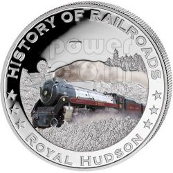 ROYAL HUDSON USA Railway Steam Train Moneda Plata 5$ Liberia 2011