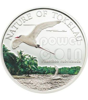 NATURA DI TOKELAU Fetonte Codarossa Redtailed Tropicbird Moneta Argento 5$ Tokelau 2012