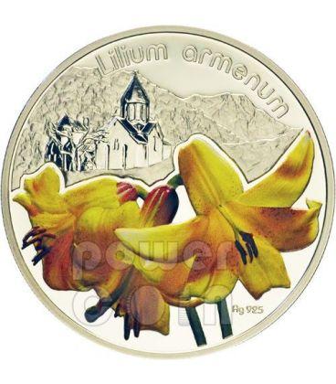 LILIUM ARMENUM Lily Lilies Flower Silver Proof Coin 1$ Niue 2012