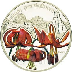 LILIUM PARDALINUM Lily Lilies Flower Silver Proof Coin 1$ Niue 2012