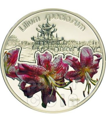 LILIUM SPECIOSUM Lily Lilies Flower Silver Proof Coin 1$ Niue 2012