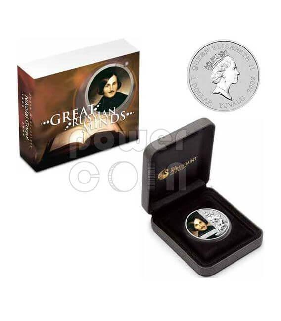 GOGOL Nikolai 200 Anniversario Moneta Argento 1$ Tuvalu 2009