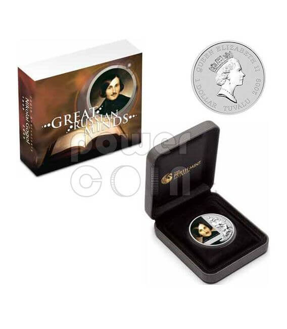 GOGOL Nikolai 200th Anniversary Silver Coin 1$ Tuvalu 2009