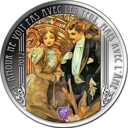 LOVE QUOTATIONS The Flirt Mucha Amethyst Silber Münze 1000 Francs Niger 2012