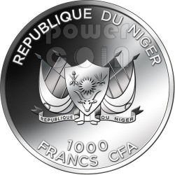 LOVE QUOTATIONS The Flirt Mucha Amethyst Silver Coin 1000 Francs Niger 2012