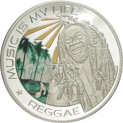 MUSIC IS MY LIFE REGGAE Bob Marley Moneda 1$ Fiji 2012