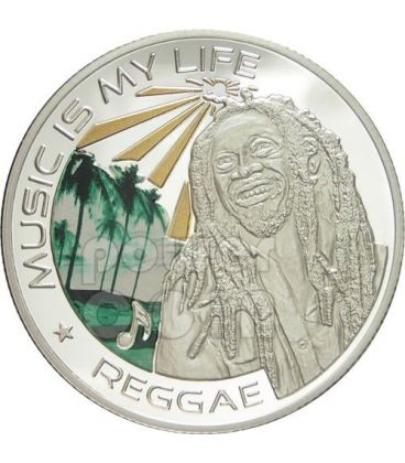 MUSIC IS MY LIFE REGGAE Bob Marley Musica Moneta 1$ Fiji 2012