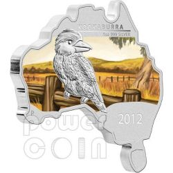 KOOKABURRA AUSTRALIANO Forma Mappa Moneta Argento Proof 1 Oz 1$ Australia 2012
