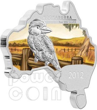AUSTRALIAN KOOKABURRA Map Shaped Silver Proof Coin 1 Oz 1$ Australia 2012