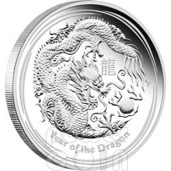 DRAGON Lunar Year Series II 5 Oz Silver Proof Coin 8$ Australia 2012