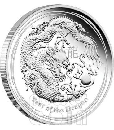 DRAGONE Dragon Lunar Serie II Moneta Argento Proof 5 Oz 8$ Australia 2012