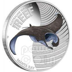 MANTA GIGANTE Ray Vita Marina Barriera Corallina Moneta Argento 50c Australia 2012