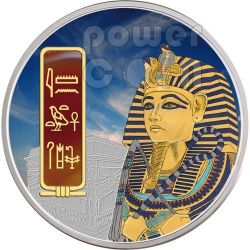TUTANKHAMUN Egypt Pharaoh Silver Palladium Gold Red Carnelian Gemstone Coin 2 Oz 50$ Fiji 2012