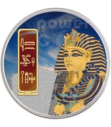 TUTANKHAMUN Egypt Pharaoh Silver Palladium Gold Red Carnelian Gemstone Coin 2 Oz 50$ Fiji 2012