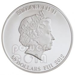 TUTANKHAMUN Egypt Pharaoh Plata Palladium Oro Red Carnelian Gemstone Moneda 2 Oz 50$ Fiji 2012