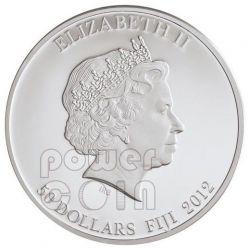 TUTANKHAMUN Egypt Pharaoh Silber Palladium Gold Red Carnelian Gemstone Münze 2 Oz 50$ Fiji 2012