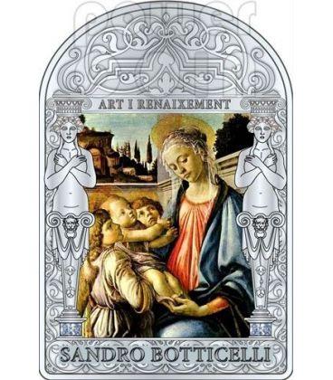 MADONNA CON BAMBINO E DUE ANGELI Botticelli Rinascimento Moneta Argento 15D Andorra 2012