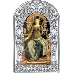 PRUDENCE SEVEN VIRTUES Pollaiuolo Botticelli Renaissance Silver Coin 10D Andorra 2012