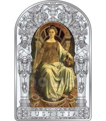 JUSTICE SEVEN VIRTUES Pollaiuolo Botticelli Renaissance Silver Coin 10D Andorra 2012