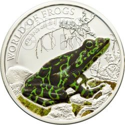 RANA VERDE Atelopus Certus World Of Frogs Moneta Argento 2$ Palau 2011