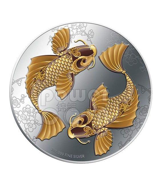 FENG SHUI KOI Carpa Giapponese Moneta Argento 2$ Niue 2012