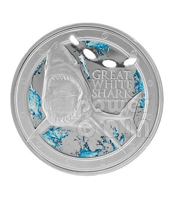 GRANDE SQUALO BIANCO Great White Shark Ocean Predators Moneta Argento 2$ Niue 2012