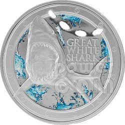 GREAT WHITE SHARK Ocean Predators Silver Coin 1 Oz 2$ Niue 2012