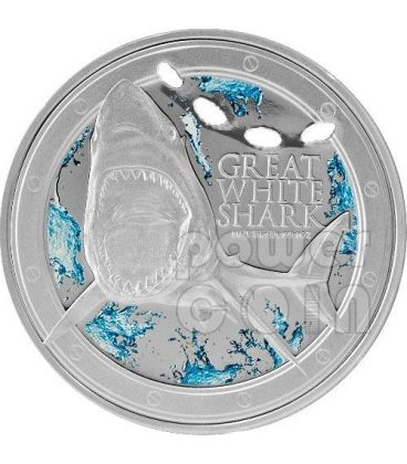 GRANDE SQUALO BIANCO Great White Shark Ocean Predators Moneta Argento 2$ Niue 2012