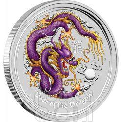 DRAGONE ANDA BRISBANE Porpora Dragon Lunar Serie Moneta Argento 1Oz 1$ Australia 2012