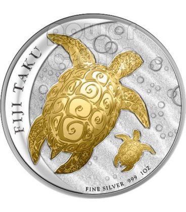 TAKU TURTLE BABY Hawksbill Gilded Silver Coin 2$ Fiji 2012