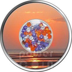 DIAMOND SUNSET Zirconia Silber Münze 10$ Fiji 2012