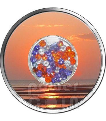 DIAMOND SUNSET Tramonto Zirconi Moneta Argento 10$ Fiji 2012