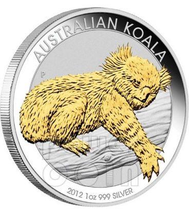 KOALA Gilded 1 Oz Moneta Argento Oro 1$ Australia 2012