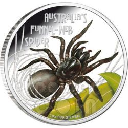 FUNNEL WEB SPIDER Australia Deadly Dangerous Silver Coin 1$ Tuvalu 2012