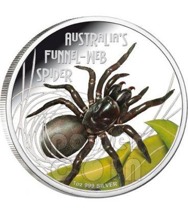 FUNNEL WEB SPIDER Australia Deadly Dangerous Ragno Cuniculi Tarantola Moneta Argento 1$ Tuvalu 2012