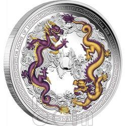 DRAGONE CINESE Dragoni Leggendari Edizione Speciale Moneta Argento 5 Oz 5$ Tuvalu 2012