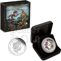 CHINESE DRAGON Special Edition Dragons Of Legend 5 Oz Moneda Plata 5$ Tuvalu 2012