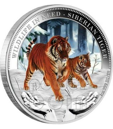 TIGRE SIBERIANA Wildlife In Need Moneta Argento 1$ Tuvalu 2012