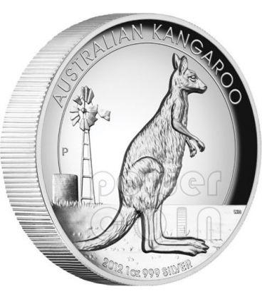 CANGURO AUSTRALIANO Alti Rilievi Moneta Argento Proof 1 Oz 1$ Australia 2012