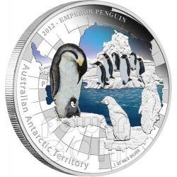 PINGUINO IMPERATORE Territorio Antartico Moneta Argento 1$ Australia 2012